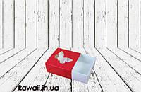 Коробка для пряника Красная 80х80х35мм (с окном бабочка)
