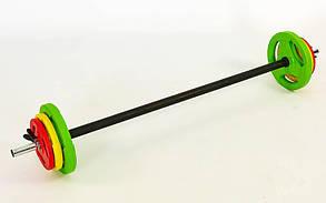 Штанга для фітнесу (фітнес памп) 20кг (гриф l-1,3 м, d-28 мм, обгумована)