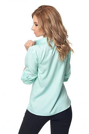 Жіноча офісна блуза-сорочка з відкладним коміром, фото 2