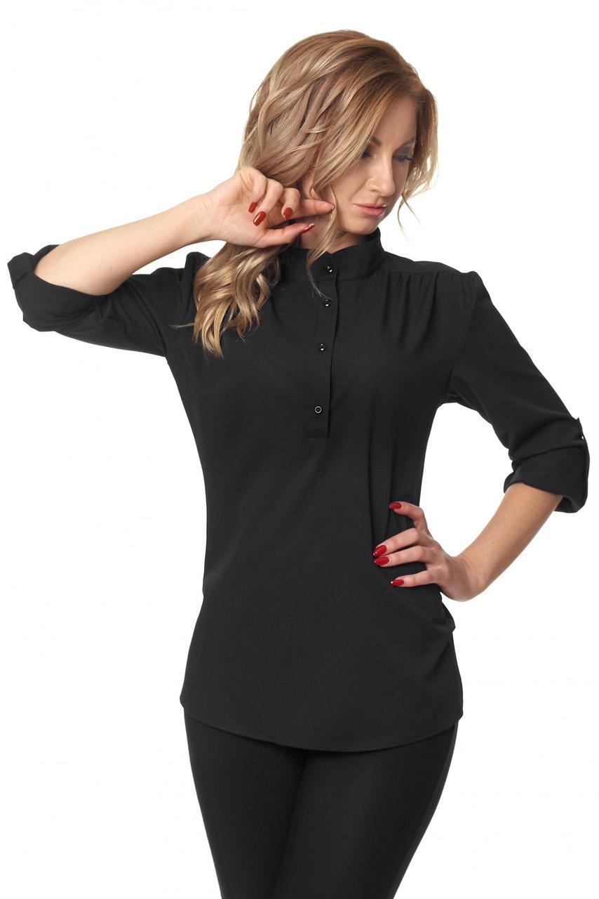 Жіноча офісна блуза-сорочка з відкладним коміром