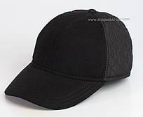 Бейсболка мужская из кашемира и стеганной плащевки черного цвета