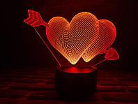 """3D светильник """"Два сердца со стрелой"""" 3DTOYSLAMP"""