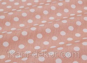 Сатин (хлопковая ткань) на коричневом горох (компаньон к мишкам Тедди) (65*160)
