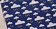 Сатин (хлопковая ткань) на синем тучки со звездным дождиком (брак размытость), фото 2