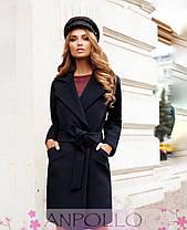 Пальто до колена с поясом и карманами кашемир, фото 3