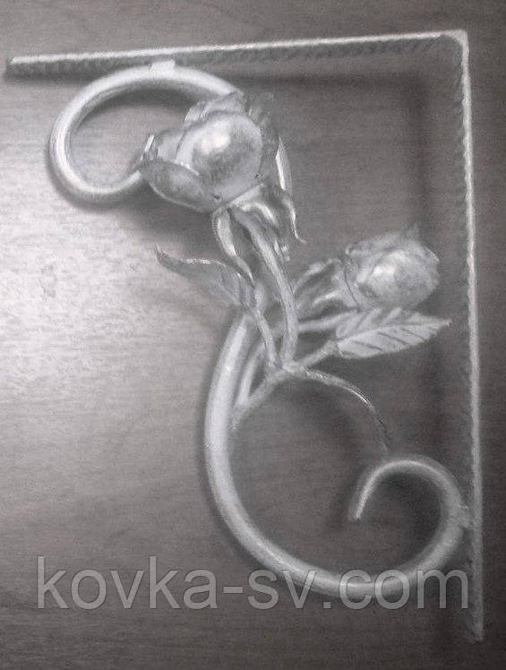 Кронштейн кованый с розами 270х200 мм