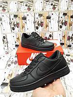 Женские Кроссовки в стиле  Nike Air Force черные кожа