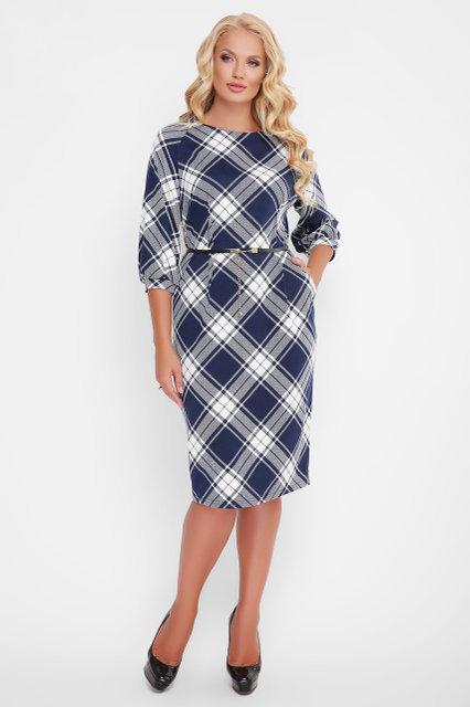 71a867f86165668 Женское трикотажное платье Кэйт синяя клетка / размер 52-58 / для полных  женщин -