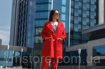 Шикарный теплый женский кардиган красного цвета. Большой размер