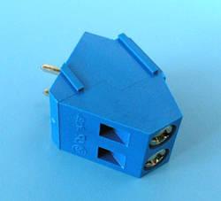 ETB1502 Клеммник 2 контакта на плату, угловой  60 градусов, 300В 10A шаг 5,0мм