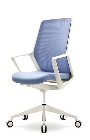 Кресло офисное компьютерное белое FLO white голубое сиденье