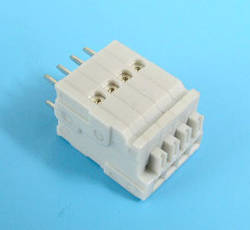 ETB64040H200G Клеммник 4 контакта на плату, зажимной, вертикальный, 50В 3А шаг 2.54х5.08 мм