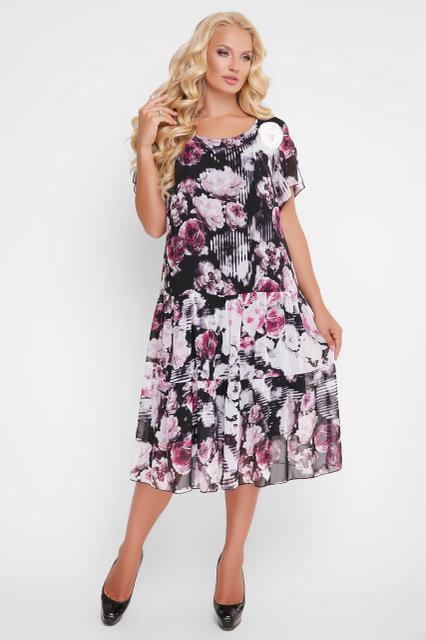 1c60ddfca67 Я-Модна - купить Женское платье прямого покроя Катаисс розы   размер ...
