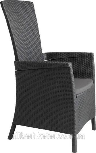 Крісло-стілець зі штучного ротангу VERMONT графіт (Allibert)