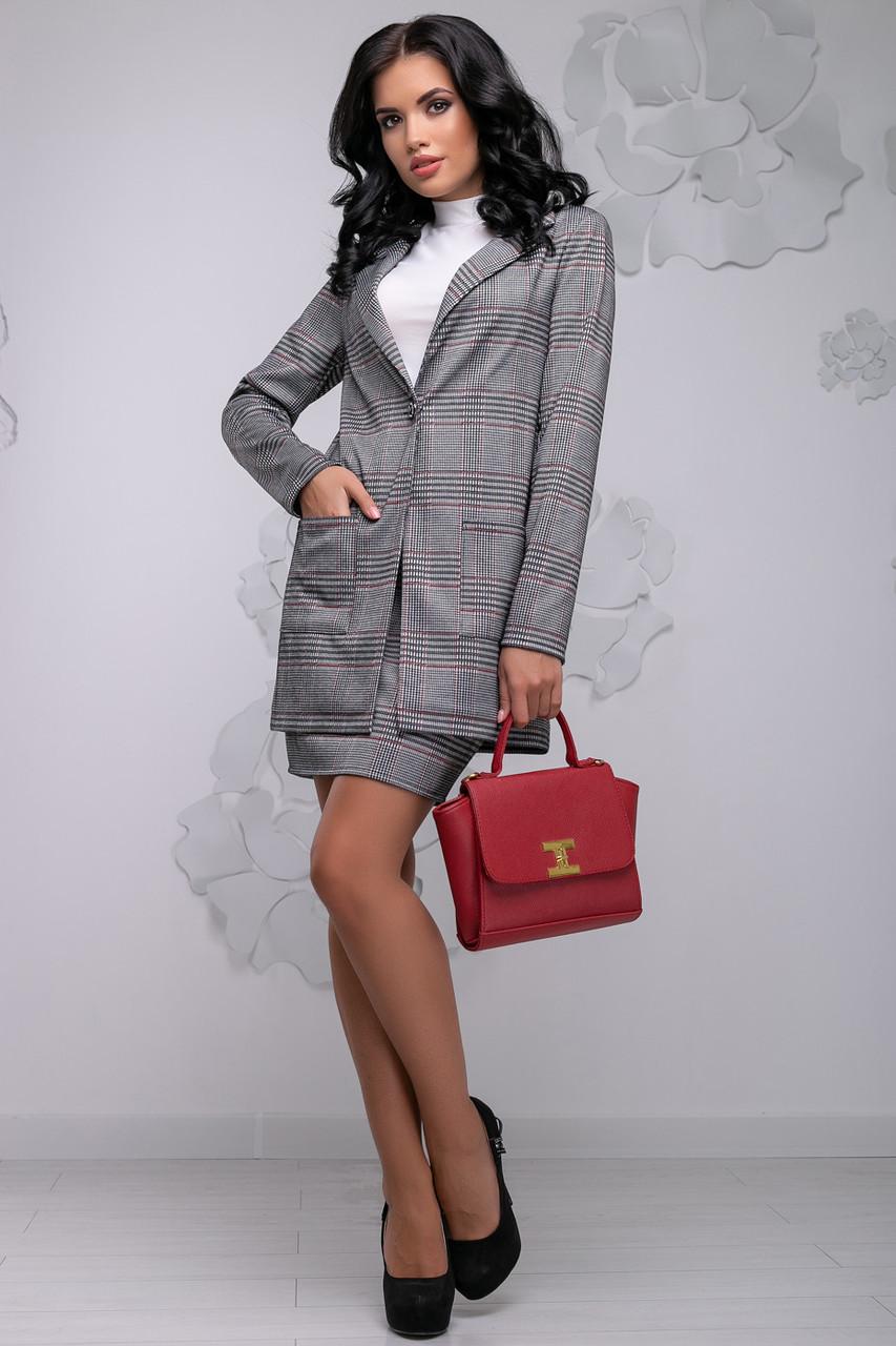 Стильный женский юбочный костюм в клетку, размеры от 42 до 48, серый