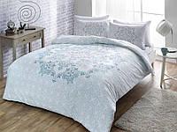 Двуспальное евро постельное белье TAC Hazel Blue Сатин
