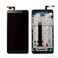 Дисплей для Xiaomi Redmi Note 3 Pro с тачскрином и рамкой черный Оригинал 147x73 mm