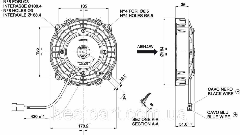 Вентилятор Spal 12V, вытяжной, VA22-AP11/C-50A
