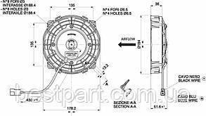 Вентилятор Spal 12V, толкающий, VA22-AP11/C-50S