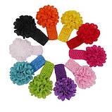 Бирюзовая детская повязка на голову - окружность 30-46см, цветок 9см, фото 2