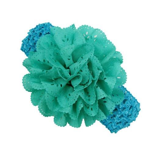 Бирюзовая детская повязка на голову - окружность 30-46см, цветок 9см