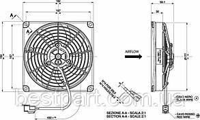 Вентилятор Spal 12V, вытяжной, VA68-A101-83A