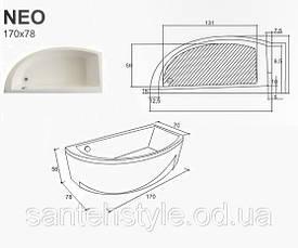 Ассиметричная акриловая ванна Fibrex Neo 1700х780х560 мм правосторонняя, фото 3