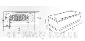 Прямоугольная акриловая ванна Fibrex Anca 1700х700х510 мм, фото 3
