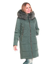 Женская зимная куртка / пуховик на силиконе з мехом  розмір 42 44 46 48 50