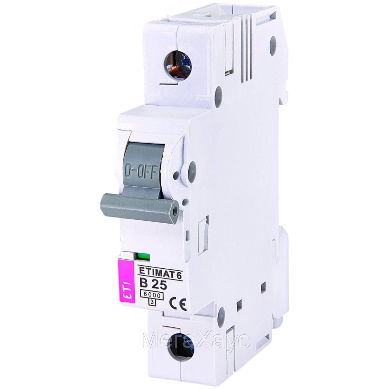 Автоматический  выключатель ETIMAT 6 1p B 25А (6 kA)