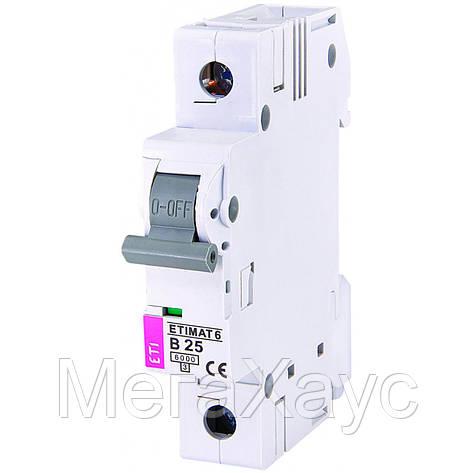 Автоматический  выключатель ETIMAT 6 1p B 25А (6 kA), фото 2