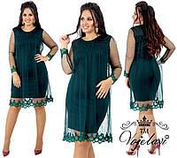 Женское платье  дайвинг + сетка в горошек + дорогое кружево+ декорированное жемчужинами 52 р. СКЛАД