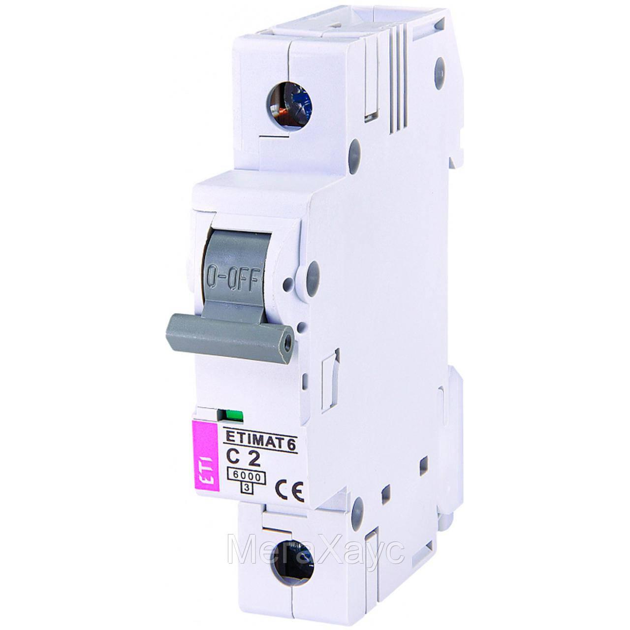 Автоматический выключатель ETIMAT 6 1p C 2A (6kA)