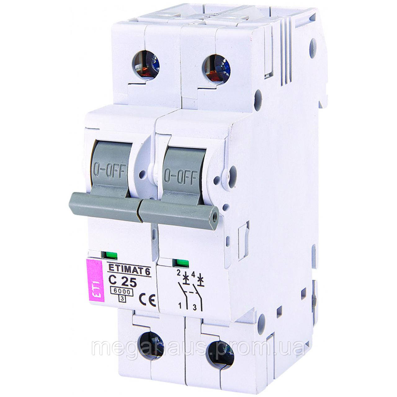 Автоматический выключатель ETIMAT 6  2p С 25А (6 kA)