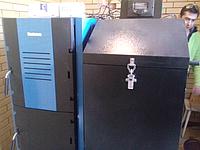 Установка системы отопления г. Харьков (Монтаж котла фирмы «BUDERUS» с бункером для загрузки пеллет плюс дымоходная система)
