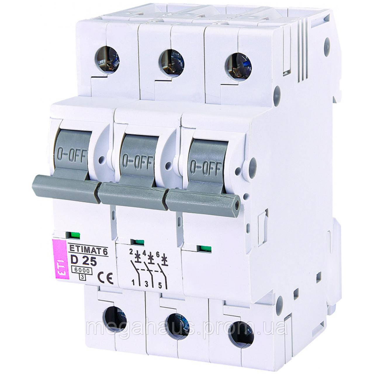 Автоматический выключатель ETIMAT 6  3p D  25A (6kA)