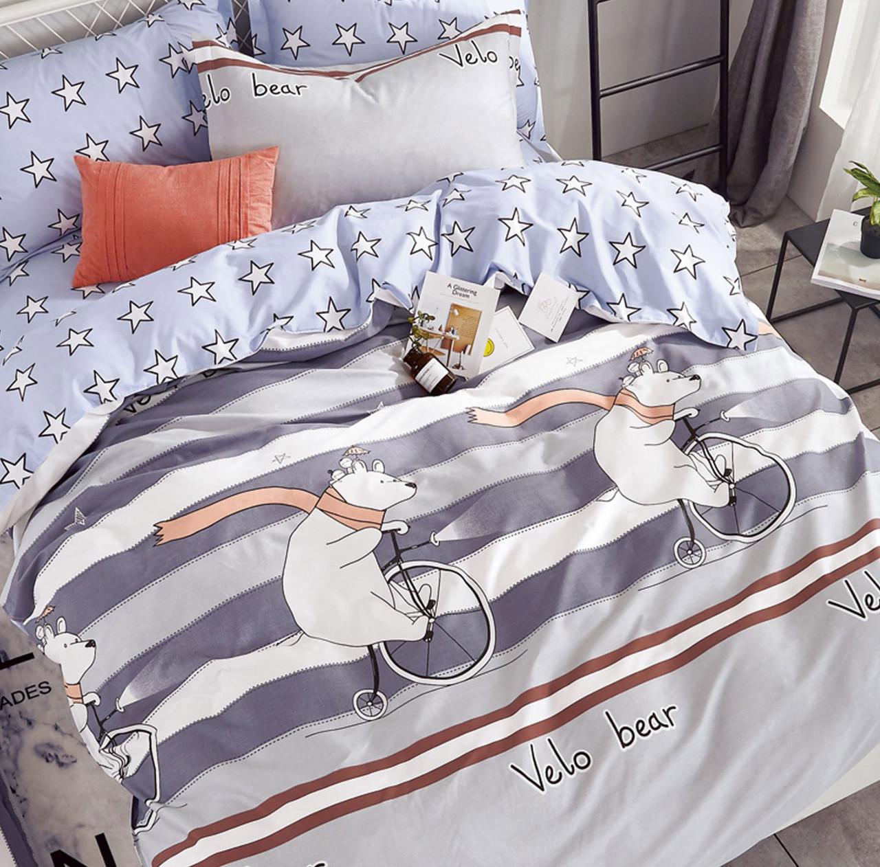 Подростковый 1,5 постельный комплект Сатин 160Х220 ВелоВедмежата