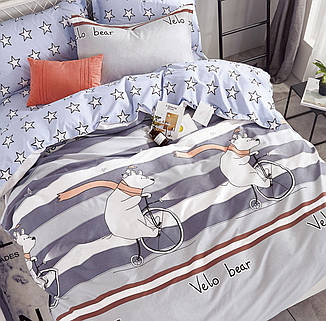 Подростковый 1,5 постельный комплект Сатин 160Х220 ВелоВедмежата, фото 2