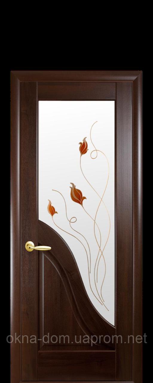 Двери межкомнатные Новый Стиль Амата (Стекло сатин и рисунок Р1) ПВХ DeLuxe