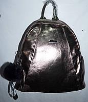 Женский городской бронзовый рюкзак из искусственной кожи качества Люкс с брелком 29*31, фото 1