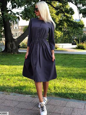 Платье-рубашка синий с резинкой на талии 42-48 супер качество!, фото 2