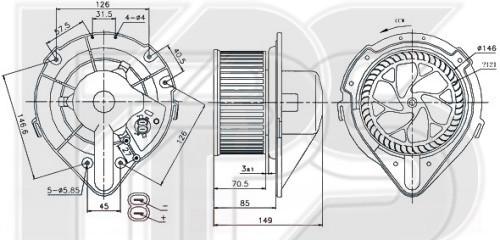 Вентилятор салона Audi 80 B4, Audi A4 B5 - 8A1820021 (FPS)