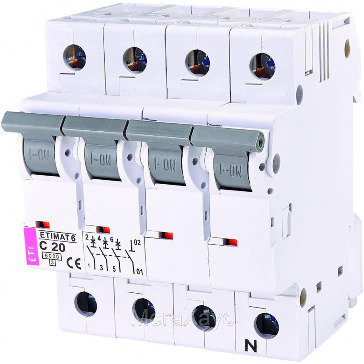 Автоматический выключатель ETIMAT 6  3p+N C 20А (6 kA)