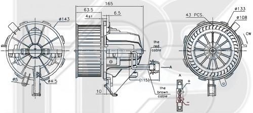 Вентилятор салона Audi A4 B8, Audi Q5, Audi A5 - 8K1820021C (FPS)