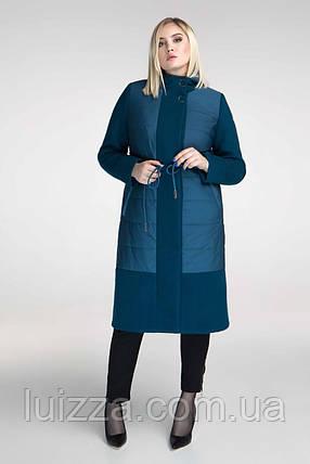 """Женское стильное пальто """"Комби"""", 48 - 62 рр, бордо, фото 2"""
