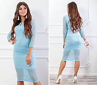 Блуза кружевная с брошкой, новинка 2018, модель 123, цвет - голубой
