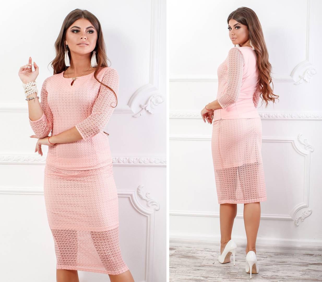Блуза кружевная с брошкой, новинка 2018, модель 123, цвет - розовая пудра