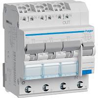 Дифференциальный автомат Hager 6kA 3x(1P+N) тип  А QuickConnect х-ка C 4P 16А 30mA (ADZ366D)