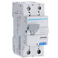 Дифференциальный автомат Hager 6kA тип А х-ка  B 2P 16А 30mA (AD916J)