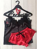 МБ черно-красная пижама с кружевом,  домашний комплект